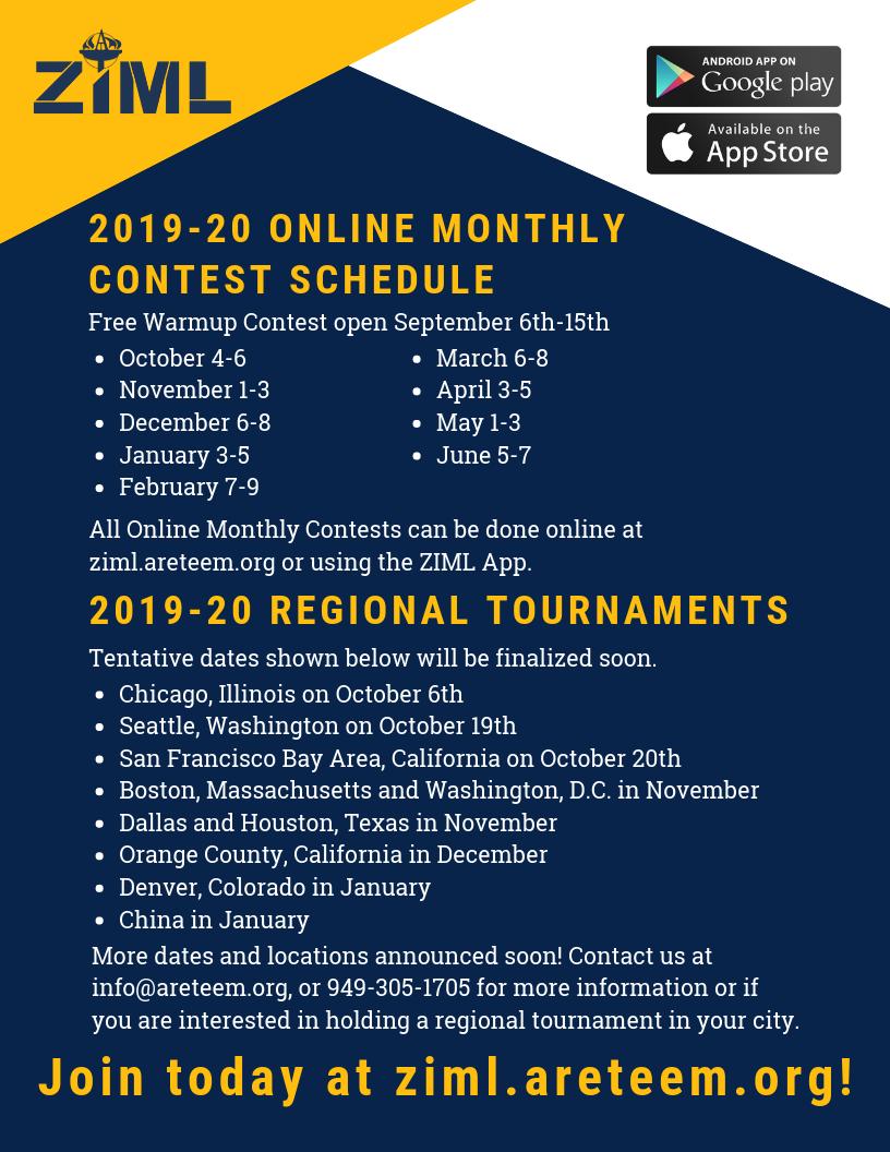 ZIML 2019-20 Schedule